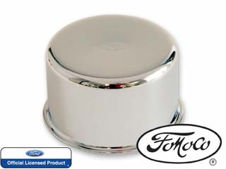 60-70½ Falcon Oil Cap w/ Oval FoMoCo Logo, Open Emissions, Chrome