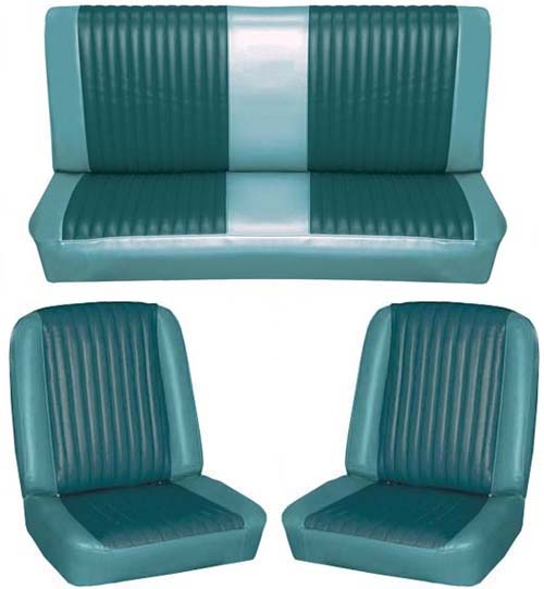 65 Falcon Futura Convertible Full Upholstery Set w/ Bucket Seats, Turquoise, Two