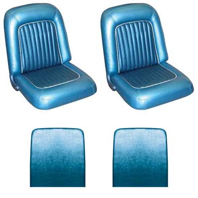 64 Falcon Futura Convertible Front Bucket Seat Upholstery, Blue Metallic, Two To