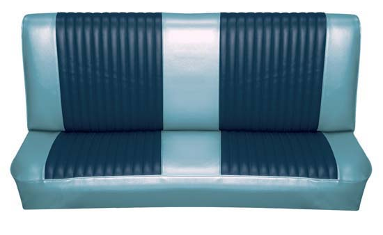 65 Falcon Futura Convertible Rear Bench Seat Upholstery, Blue Metallic, Two Tone